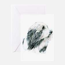 Grey Bearded Collie Beardie Greeting Card