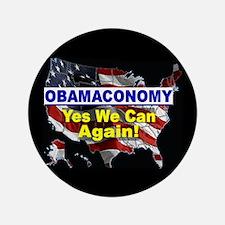 "Obamaconomy-blue 3.5"" Button"