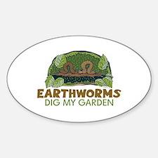 Garden Earthworms Oval Bumper Stickers