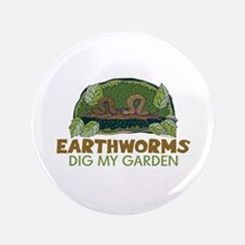 "Garden Earthworms 3.5"" Button"