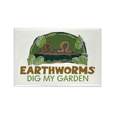 Garden Earthworms Rectangle Magnet