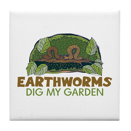 Garden Earthworms Tile Coaster