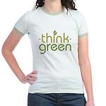 Think Green [text] Jr. Ringer T-Shirt