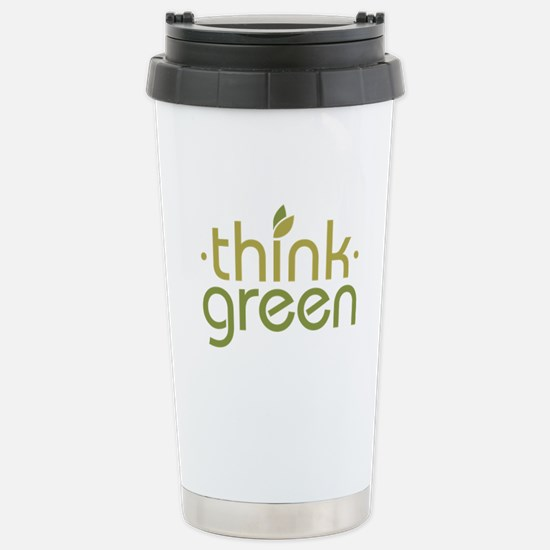 Think Green [text] Stainless Steel Travel Mug
