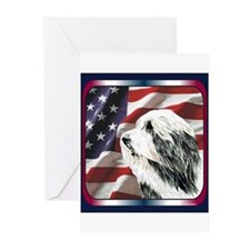 USA Flag Bearded Collie Greeting Cards (Pk of 10)