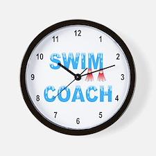 Swim Coach Blue Wall Clock