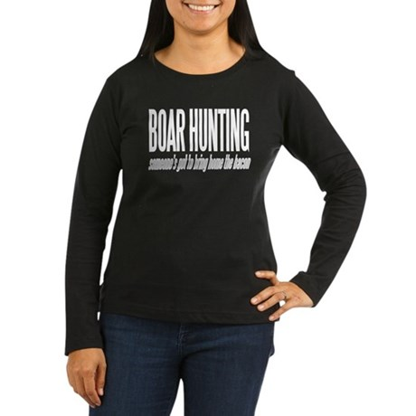 Boar Hunting Women's Long Sleeve Dark T-Shirt