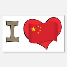 I heart China Rectangle Decal
