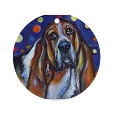 Portrait of a Basset Hound Ornament (Round)