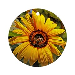 Sunflower Bee - Holiday Ornament Round