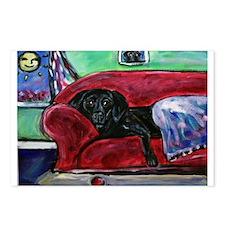 Black Labrador sofa Postcards (Package of 8)