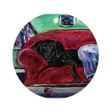 Black Labrador sofa Ornament (Round)
