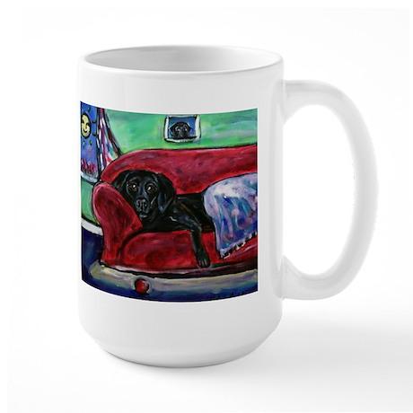 Black Labrador sofa Large Mug
