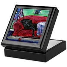 Black Labrador sofa Keepsake Box