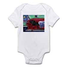 Black Labrador sofa Infant Bodysuit