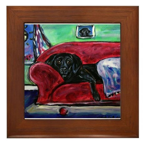 Black Labrador sofa Framed Tile