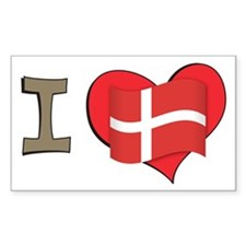 I heart Denmark Rectangle Decal