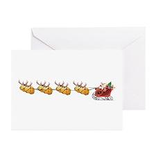 Sleigh & Braindeer Greeting Cards (Pk of 10)
