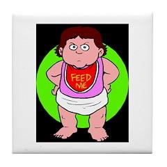 baby feed me Tile Coaster