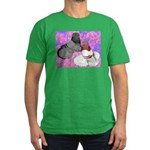 Trumpeter Pigeons and Flowers Men's Fitted T-Shirt