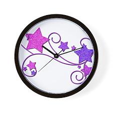 Glitter Stars Wall Clock