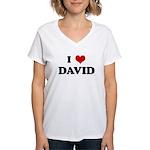 I Love DAVID Women's V-Neck T-Shirt