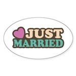 Just Married Oval Sticker (10 pk)