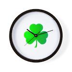 Bright Green Shamrock Wall Clock