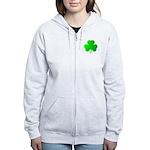 Bright Green Shamrock Women's Zip Hoodie