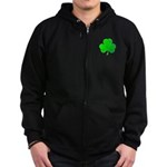Bright Green Shamrock Zip Hoodie (dark)