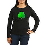 Bright Green Shamrock Women's Long Sleeve Dark T-S