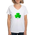 Bright Green Shamrock Women's V-Neck T-Shirt