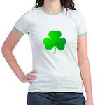 Bright Green Shamrock Jr. Ringer T-Shirt