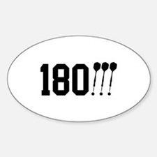 180 Darts!!! Oval Stickers