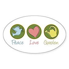 Peace Love Garden Oval Decal