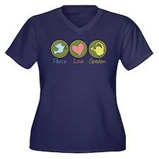 Peace Love Garden Women's Plus Size V-Neck Dark T-