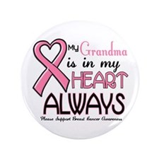 "In My Heart 2 (Grandma) PINK 3.5"" Button"