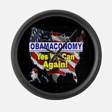 Obamaconomy-blue Large Wall Clock