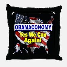 Obamaconomy-blue Throw Pillow