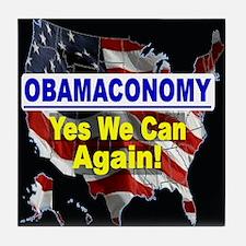 Obamaconomy-blue Tile Coaster