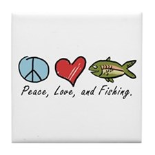 Peace, Love, Fishing Tile Coaster