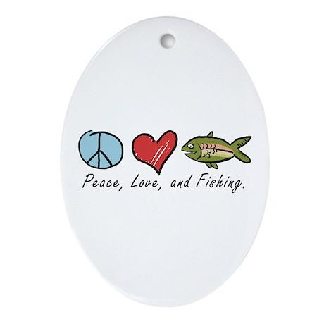 Peace, Love, Fishing Oval Ornament