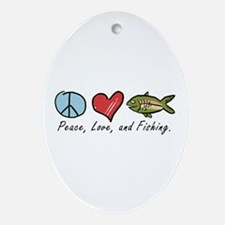 Peace, Love, Fishing Oval Ornament