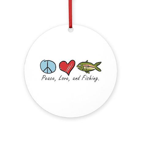 Peace, Love, Fishing Ornament (Round)
