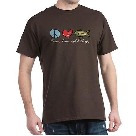 Peace, Love, Fishing Dark T-Shirt