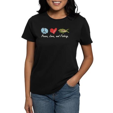 Peace, Love, Fishing Women's Dark T-Shirt