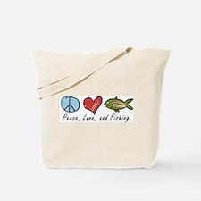 Peace, Love, Fishing Tote Bag
