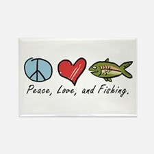 Peace, Love, Fishing Rectangle Magnet