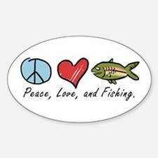 Peace, Love, Fishing Oval Decal