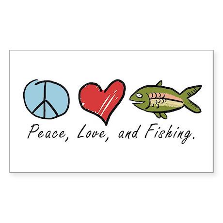 Peace, Love, Fishing Rectangle Sticker